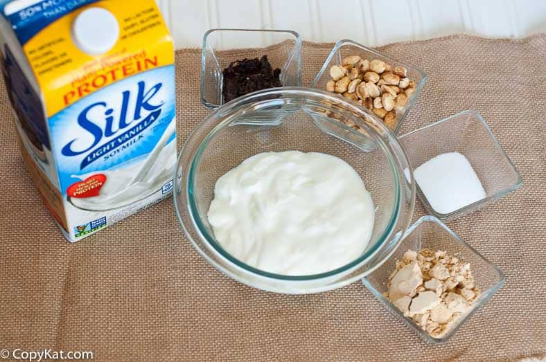Ingredients for chocolate peanut butter yogurt cups from CopyKat.com