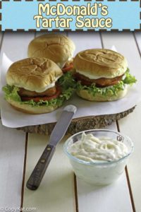 copycat mcdonald's tartar sauce on a fish sandwich