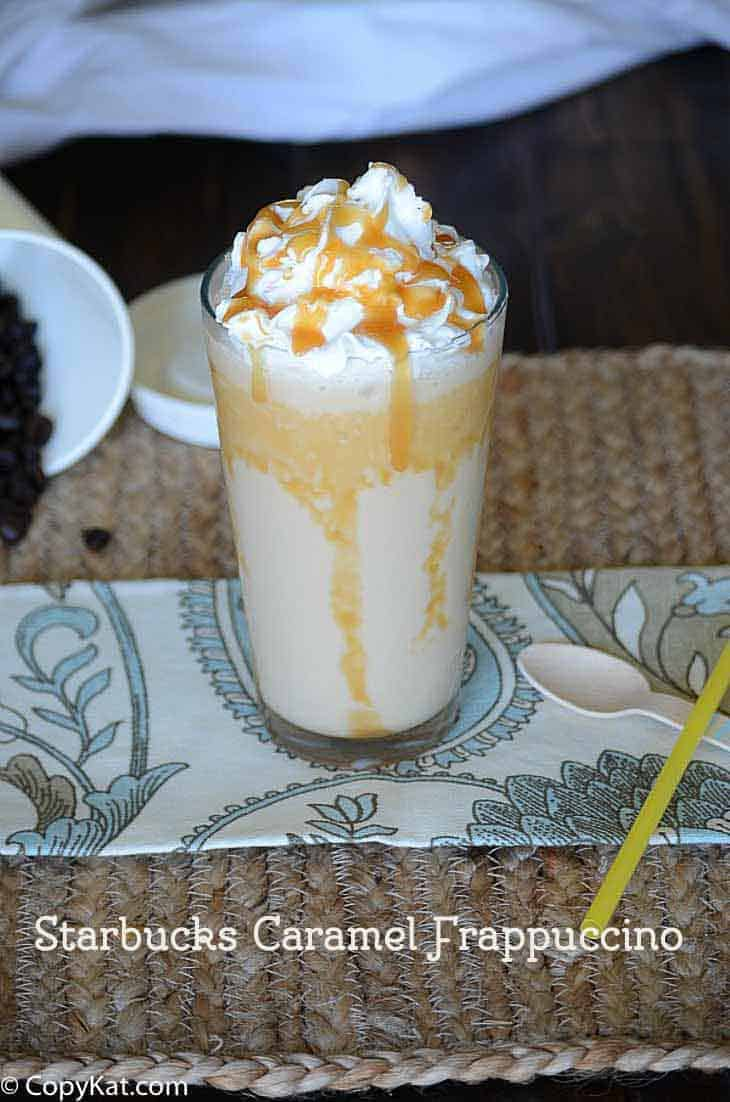 a blended frozen frappuccino, coffee with cream and lots of caramel syrup, one of the best starbucks drinks.