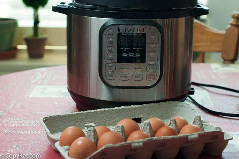 A dozen eggs in front of an Instant Pot
