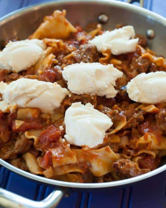 Skillet Lasagna with ricotta cheese