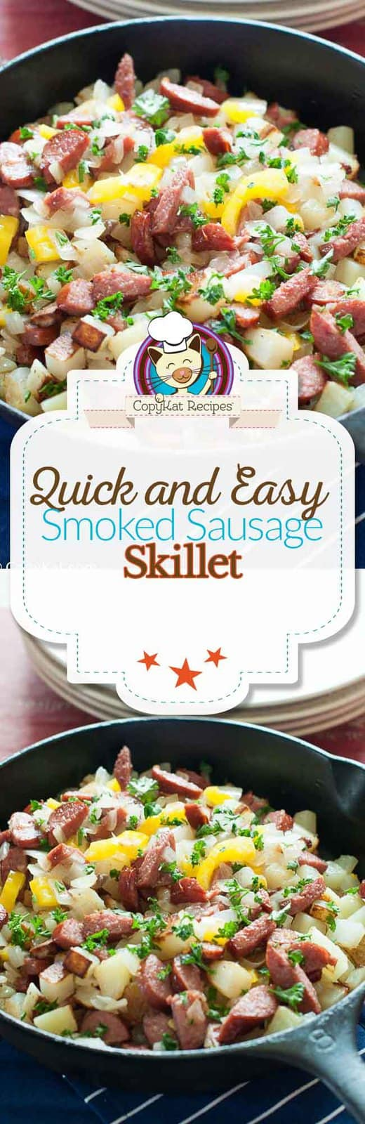 Make a quick and easy skillet dinner with Hillshire Farm®  Smoked Sausage.