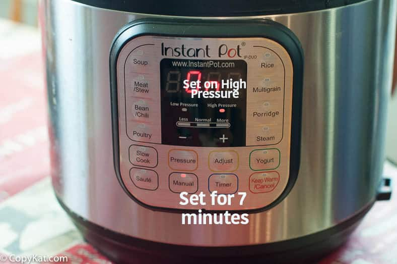 Instant Pot hard cooked eggs cooking instructions.