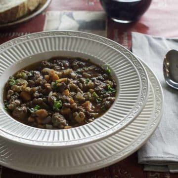 Bowl of homemade Carrabba's Sausage and Lentil Soup with this easy copycat recipe.