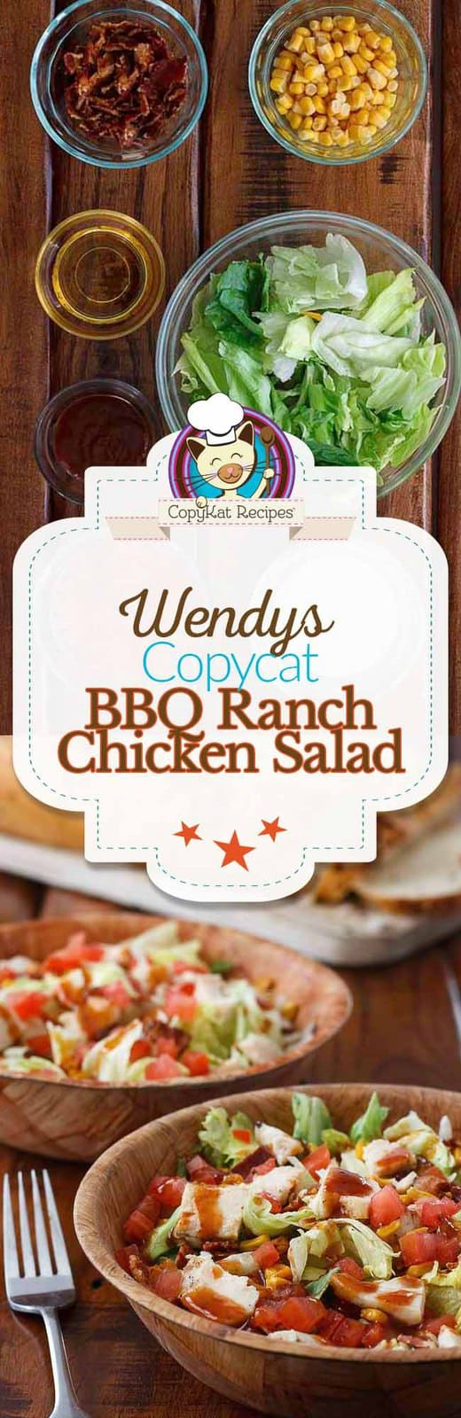 Make a meal out of a salad with this copycat recipe for Wendy's BBQ Ranch Chicken Salad.#chicken #salad #copycat #copycatrecipe