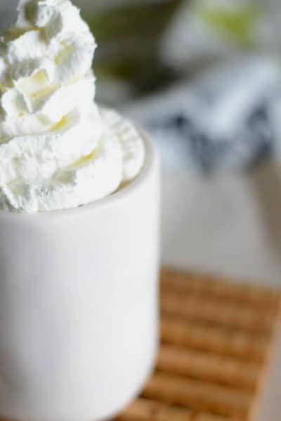 Closeup photo of homemade copycat Starbucks White Chocolate Mocha.
