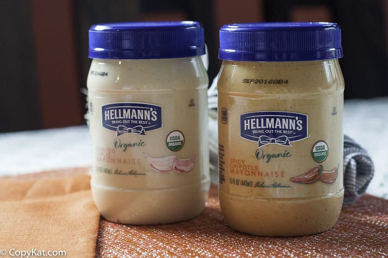 two jars of Hellman's organic mayonnaise