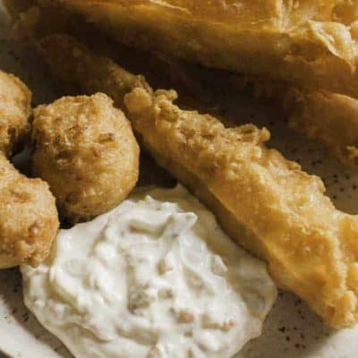 a plate of fish sticks with homemade Red Lobster tartar sauce