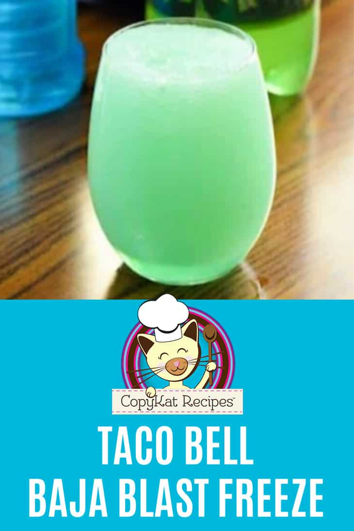 A glass of homemade Taco Bell Baja Blast Freeze