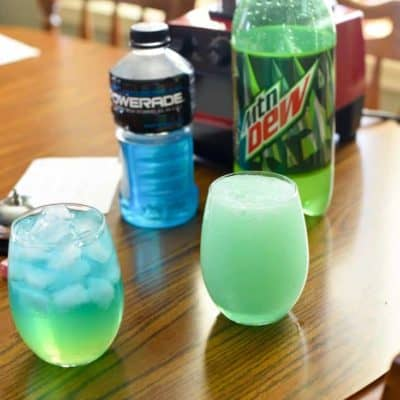 Two glasses of homemade Taco Bell Baja Blast