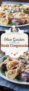 Collage of homemade Olive Garden Steak Gorgonzola Alfredo photos.