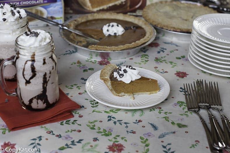 pumpkin pie and frozen hot chocolate being served for dessert