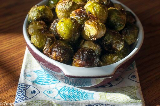 Homemade Red Lobster roasted brussel sprouts in a serving bowl