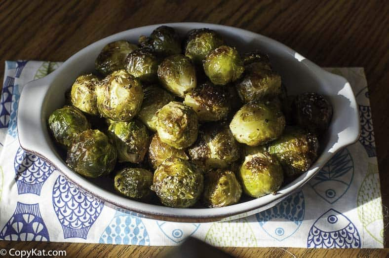Roasted Brussel sprouts in a baking dish