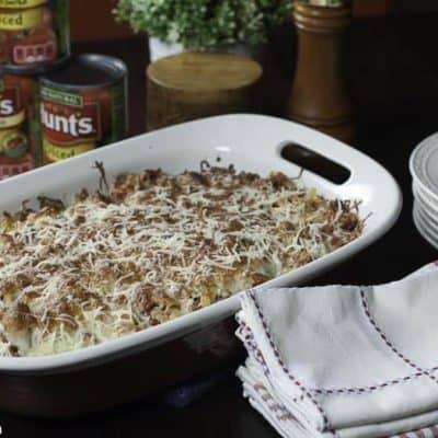 Ground Beef Casserole in a baking dish