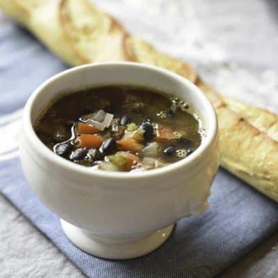 A bowl of homemade Panera Bread Black Bean Soup