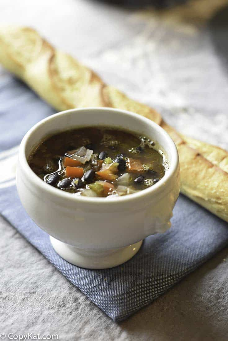 A bowl of homemade Panera Bread Black Bean Soup
