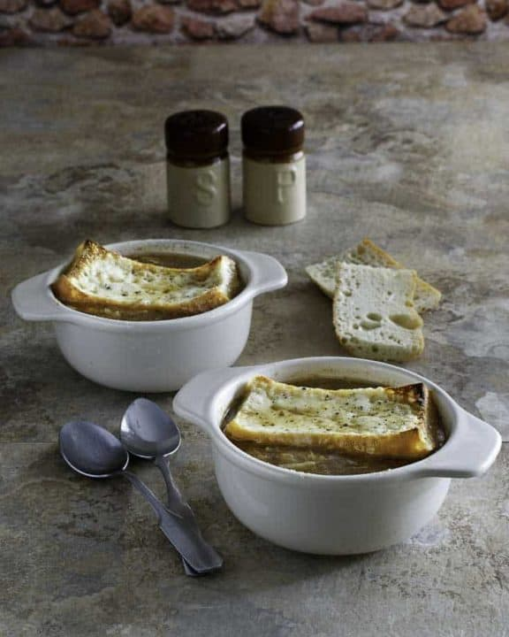 Two bowls of homemade copycat Applebees French Onion Soup
