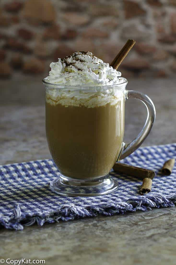 Homemade copycat Starbucks Pumpkin Spice Latte in a glass coffee mug.