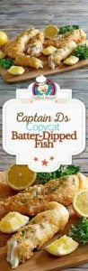 Collage of Captain Ds Batter-Dipped Fish photos