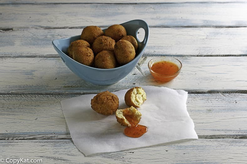 A bowl of homemade Captain Ds hush puppies
