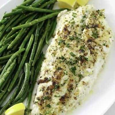 baked white fish on a plate