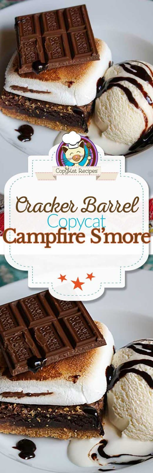 Make your own delicious Cracker Barrel Campfire S'more at home.  #copycat #crackerbarrel #chocolate #smore #dessert #campfire