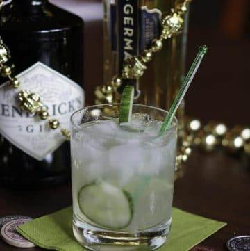 Fleur de Lis cocktail, Hendricks gin, and St. Germaine