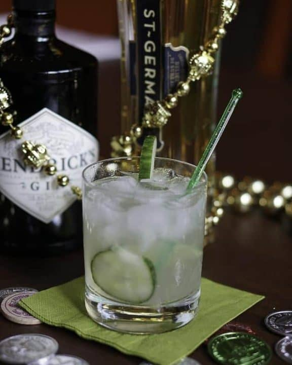 Fleur de Lis cocktail, Hendricks gin, and St. Germaine