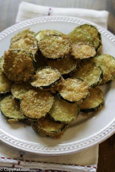 Fried Zucchini Chips on a plate
