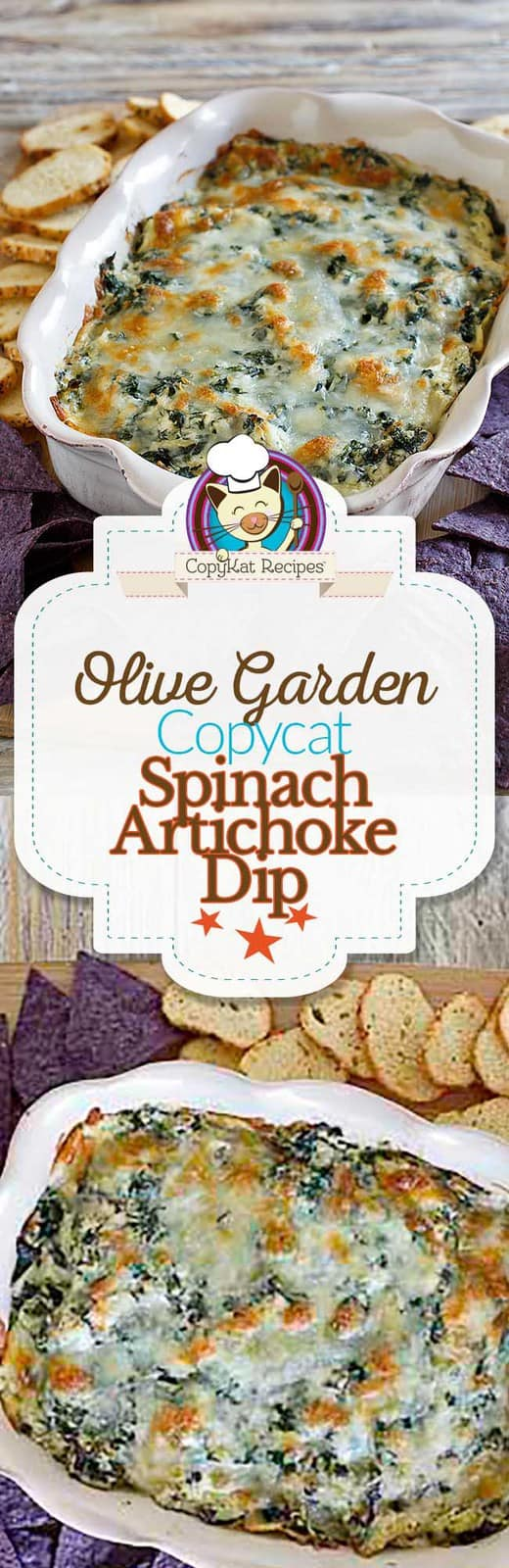 You can recreate the Olive Garden Spinach-Artichoke Dip at home with this easy copycat recipe. #Olivegarden #appetizer #artichoke #copycat #copycatrecipe