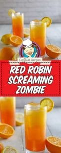 Collage of homemade Red Robin Screaming Red Zombie cocktail photos.
