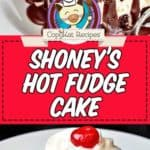 a slice of hot fudge cake photo collage