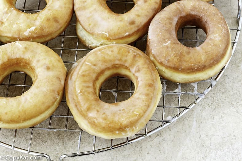 glazed donuts on a wire baking rack