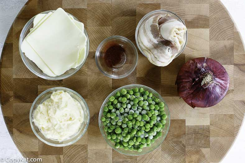 peas, red onions, mayonnaise, bacon, frozen peas and more