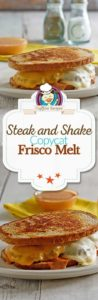 Collage of homemade Steak and Shake Frisco Melt photos