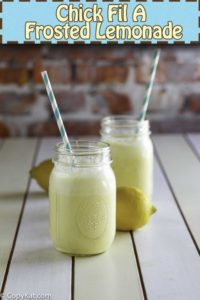 two glasses of homemade Chick Fil A Frosted Lemonade