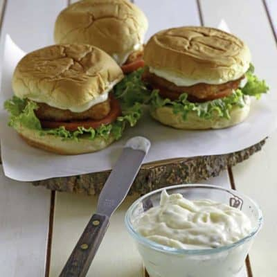 Homemade McDonald's Tartar sauce and fish filet sandwiches