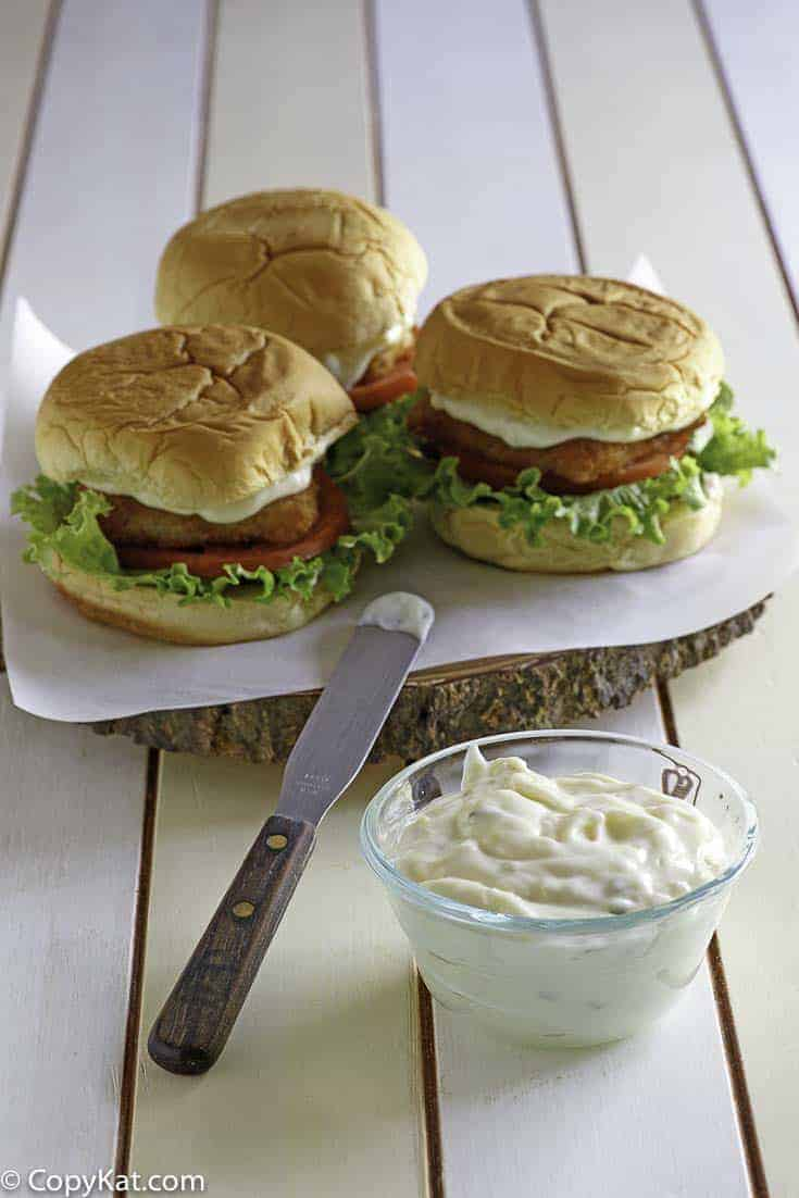 Homemade McDonald's Tartar sauce and fish filet sandwiches.