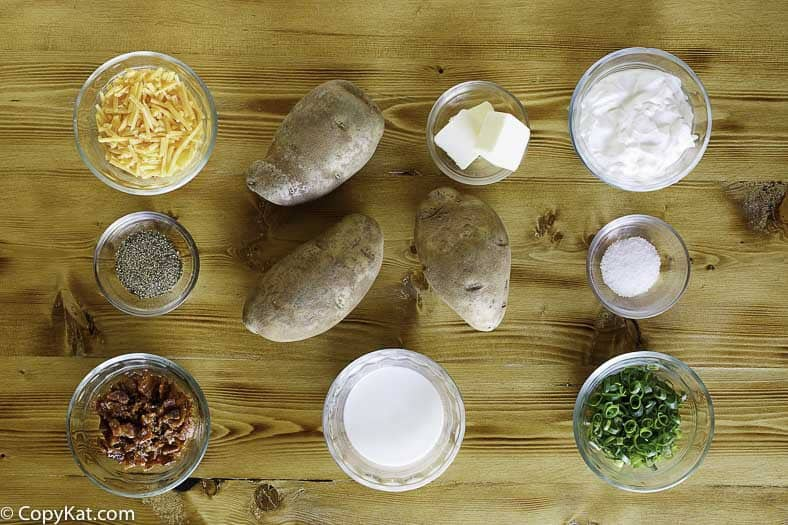 Ingredients for the Dickeys barbecue baked potato casserole recipe.