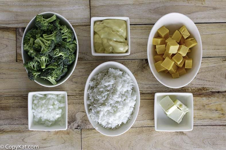 Ingredients for the Quick and Easy Broccoli Rice Casserole.