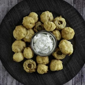 A plate of fried mushrooms