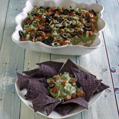 nine layer dip with tortilla chips