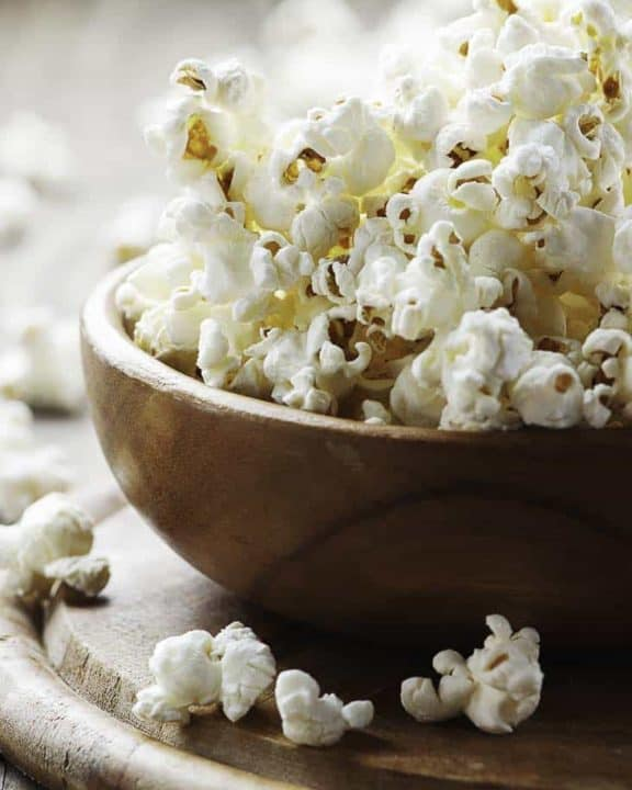 popcorn in a wood bowl