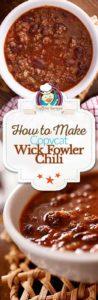 Homemade Wick Fowler chili photo collage