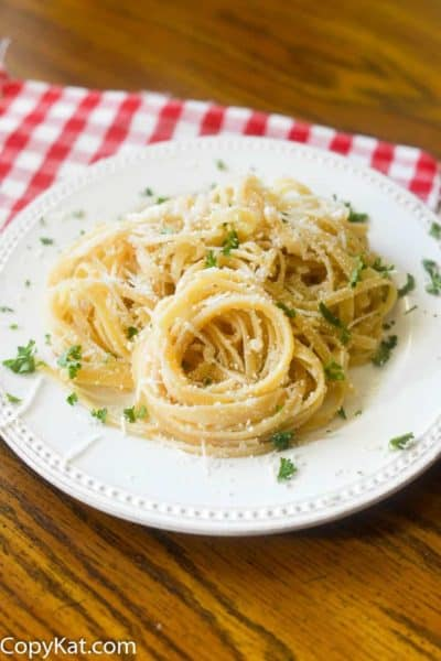 A plate of Spaghetti with Mizithra Cheese and Browned Butter