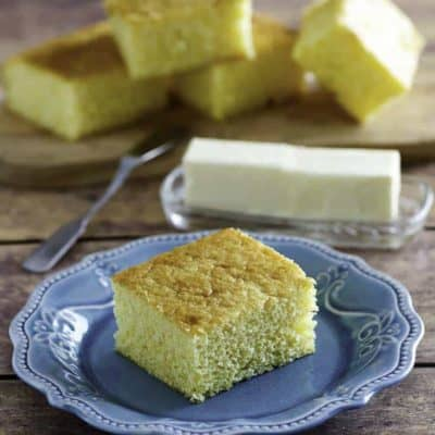 Homemade Boston Market Cornbread slices and butter