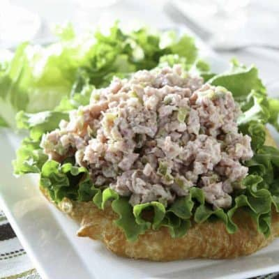 Homemade ham salad on a slice of bread.