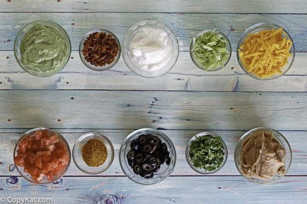 Ingredients for the TGI Friday's 9 Layer Dip copycat recipe.