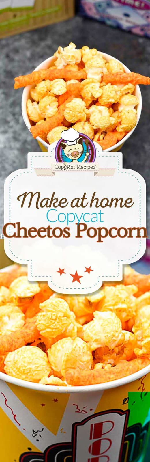 You can recreate copycat Cheetos Popcorn at home.  This recipe is perfect for cheese lovers! #snack #popcorn #cheesepopcorn #copycat